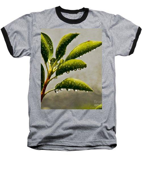 Natures Teardrops Baseball T-Shirt by Carol F Austin