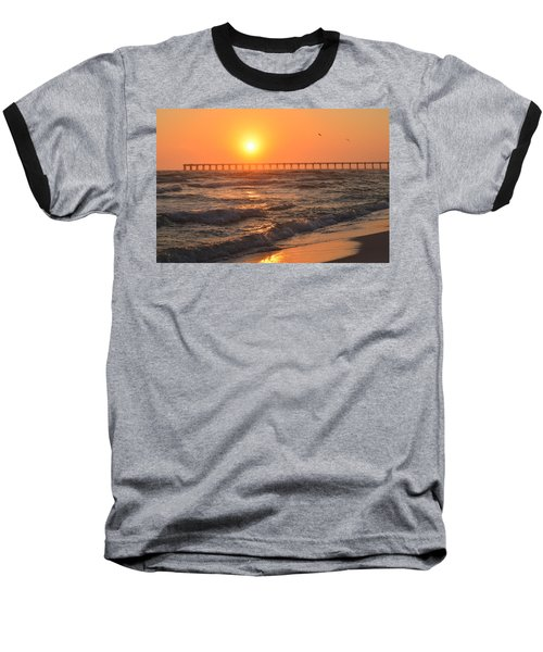 Navarre Beach And Pier Sunset Colors With Birds And Waves Baseball T-Shirt