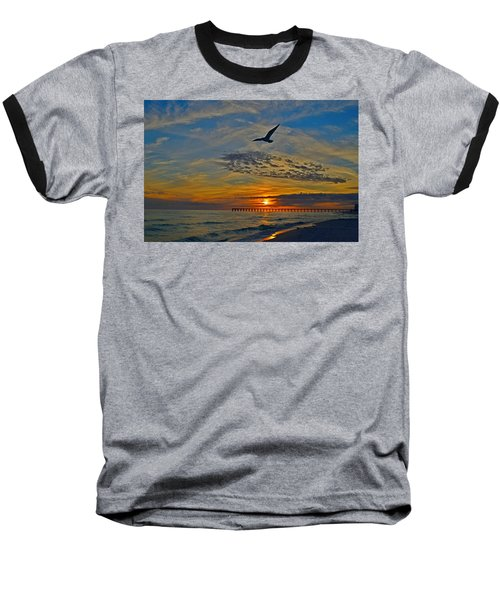 Navarre Beach And Pier Sunset Colors With Gulls And Waves Baseball T-Shirt by Jeff at JSJ Photography