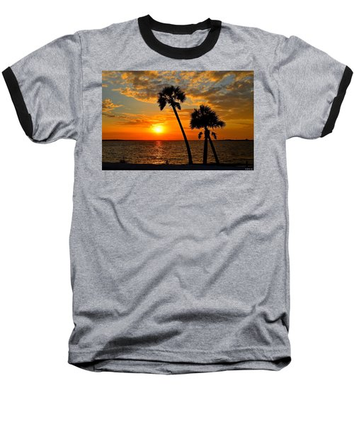 Navarre Beach Bridge Sunrise Palms Baseball T-Shirt