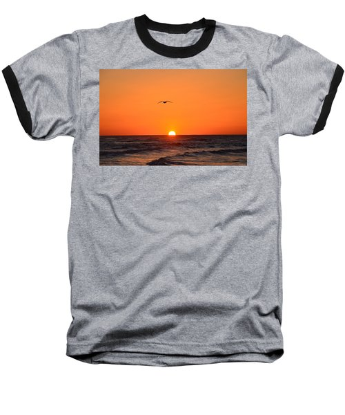 Navarre Beach Sunrise Waves And Bird Baseball T-Shirt