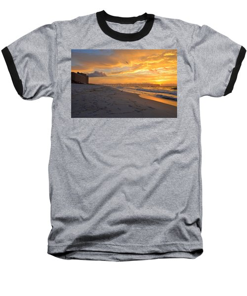 Navarre Pier And Navarre Beach Skyline At Sunrise With Gulls Baseball T-Shirt