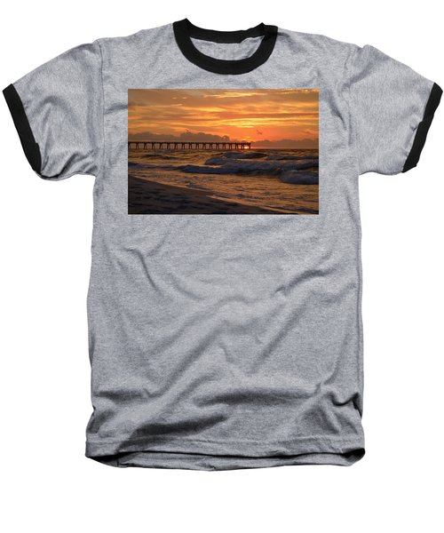 Navarre Pier At Sunrise With Waves Baseball T-Shirt by Jeff at JSJ Photography