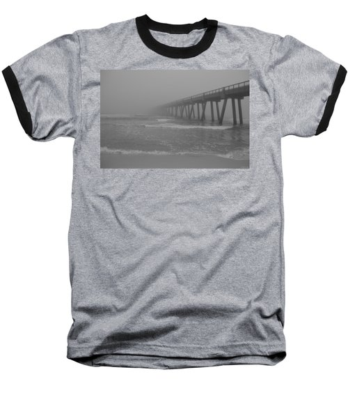 Navarre Pier Disappears In The Bw Fog Baseball T-Shirt