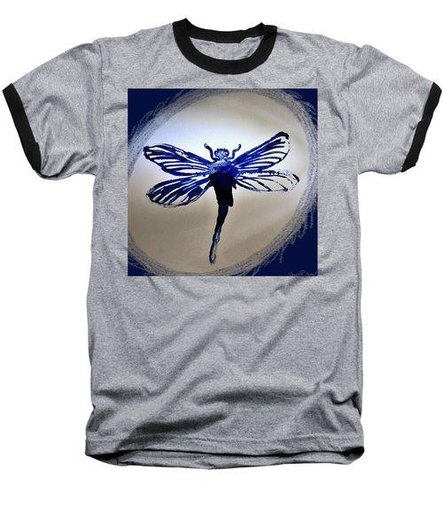 Navy Dragonfly Alcohol Inks  Baseball T-Shirt