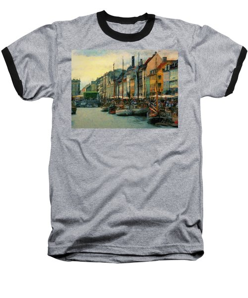 Baseball T-Shirt featuring the painting Nayhavn Street by Jeff Kolker