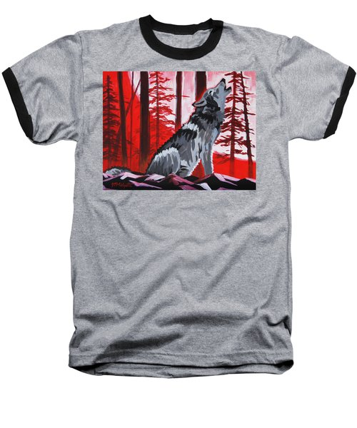 Wolf With Red Sky Baseball T-Shirt