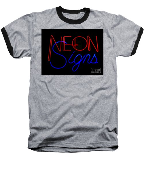 Neon Signs In Black Baseball T-Shirt by Kelly Awad