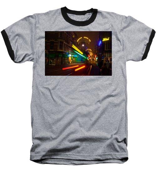 Baseball T-Shirt featuring the photograph Neon Tram Leidestraat by Jonah  Anderson