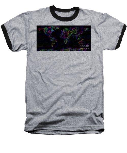 Neon World Map Baseball T-Shirt by Zaira Dzhaubaeva