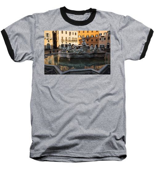 Baseball T-Shirt featuring the photograph Neptune Fountain Rome Italy by Georgia Mizuleva