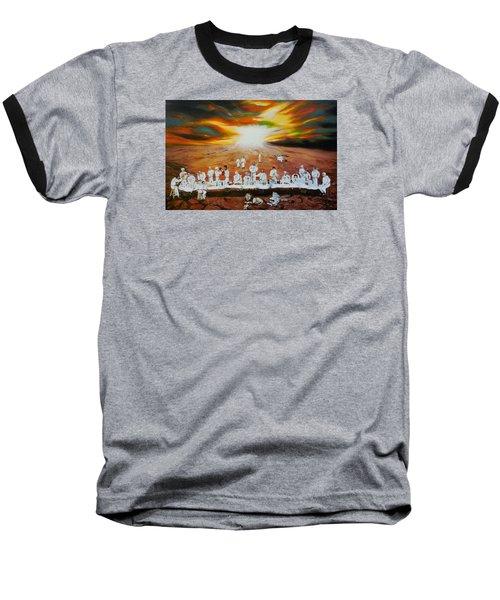 Never Ending Last Supper Baseball T-Shirt by Raymond Perez