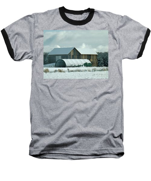 Baseball T-Shirt featuring the photograph New And Old Barn Planks by Brenda Brown