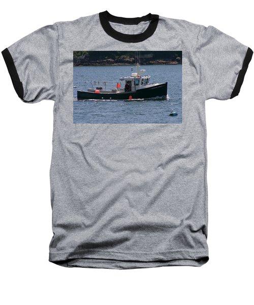 New England Fishing Boat Baseball T-Shirt by Denyse Duhaime