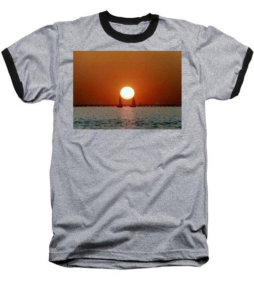 New Orleans Sailing Sun On Lake Pontchartrain Baseball T-Shirt