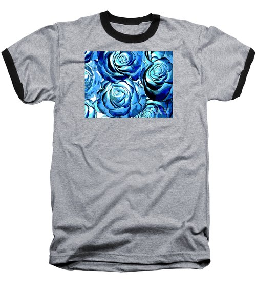Pop Art Blue Roses Baseball T-Shirt