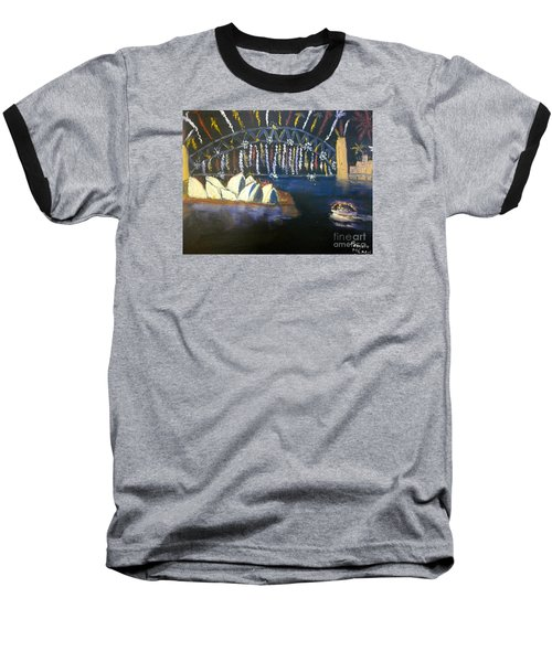Baseball T-Shirt featuring the painting New Year Eve On Sydney Harbour by Pamela  Meredith