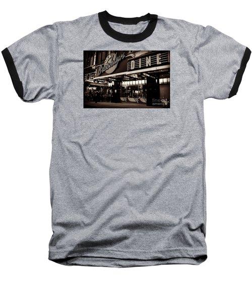 New York At Night - Brooklyn Diner - Sepia Baseball T-Shirt by Miriam Danar