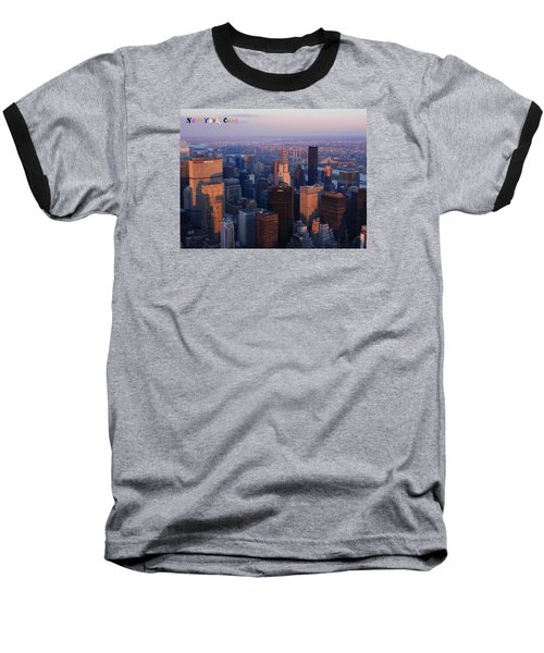 New York City At Dusk Baseball T-Shirt