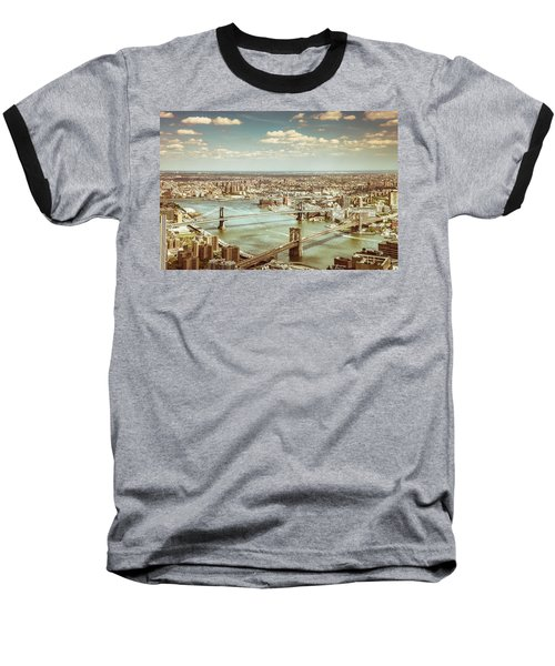 New York City - Brooklyn Bridge And Manhattan Bridge From Above Baseball T-Shirt by Vivienne Gucwa