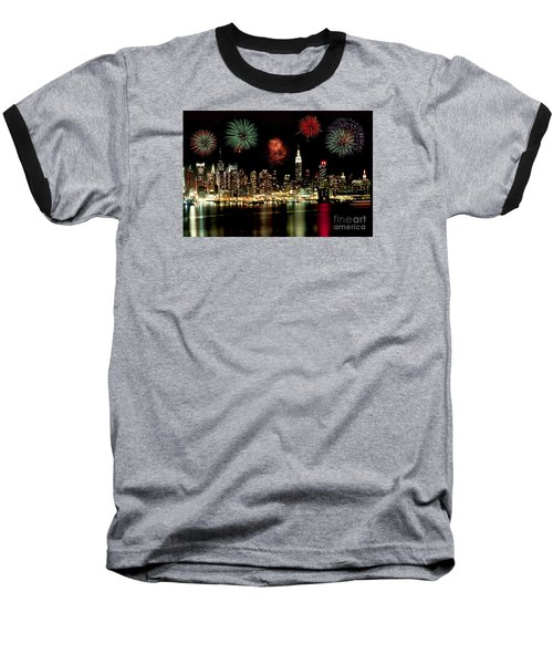 New York City Fourth Of July Baseball T-Shirt by Anthony Sacco
