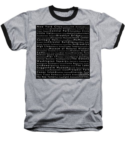 New York City In Words Black Baseball T-Shirt