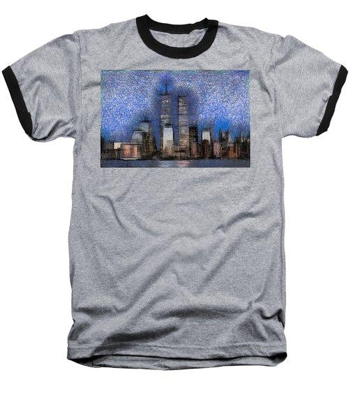 New York City Blue And White Skyline Baseball T-Shirt by Georgi Dimitrov