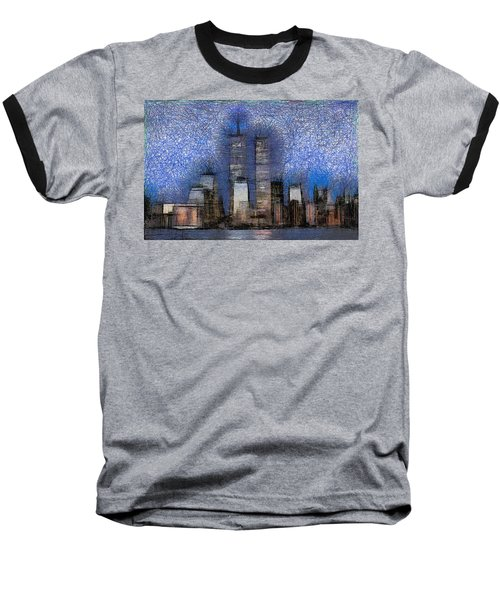 New York City Blue And White Skyline Baseball T-Shirt