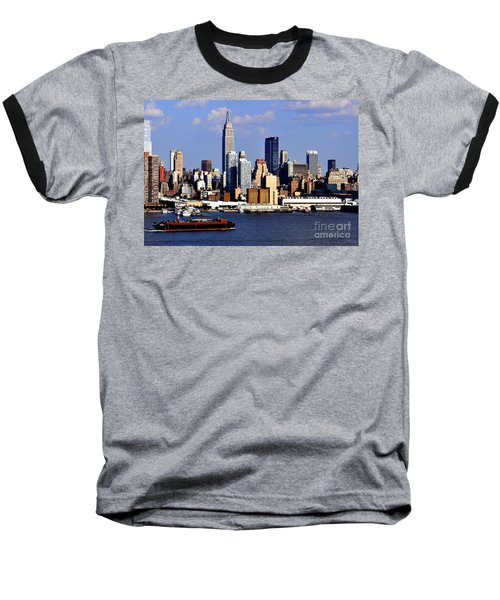 New York City Skyline With Empire State And Red Boat Baseball T-Shirt