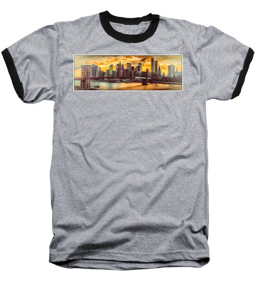 New York City Summer Panorama Baseball T-Shirt