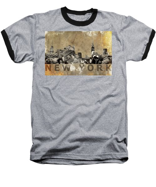 Baseball T-Shirt featuring the photograph New York City Grunge by Suzanne Powers