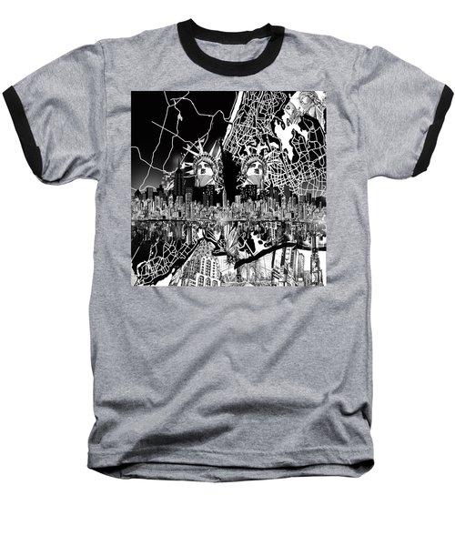 New York Map Black And White 2 Baseball T-Shirt by Bekim Art