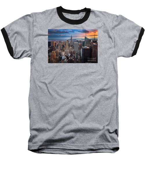 New York New York Baseball T-Shirt by Inge Johnsson