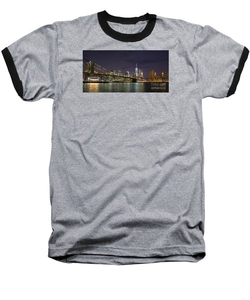 Baseball T-Shirt featuring the photograph New York Nights by Keith Kapple