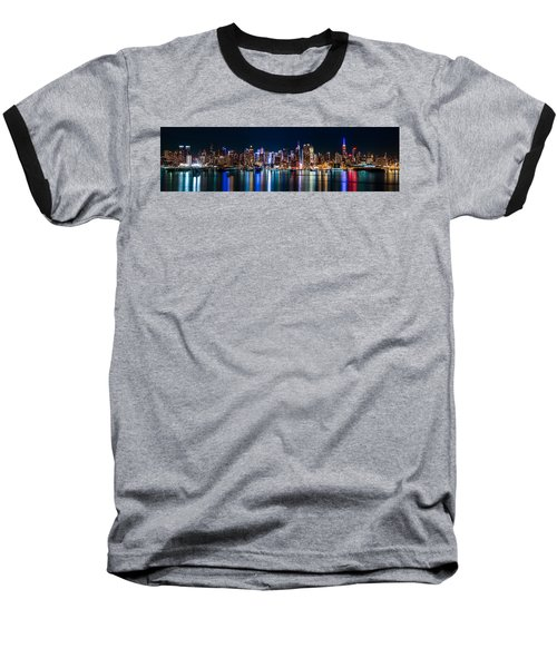 New York Panorama By Night Baseball T-Shirt