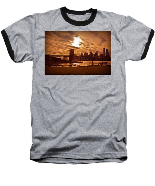 New York Skyline And Brooklyn Bridge -- Late Afternoon Baseball T-Shirt