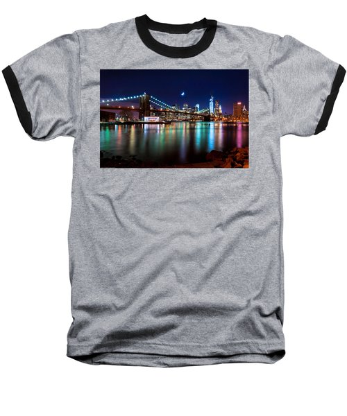 New York Skyline And Brooklyn Bridge With Crescent Moon Rising Baseball T-Shirt