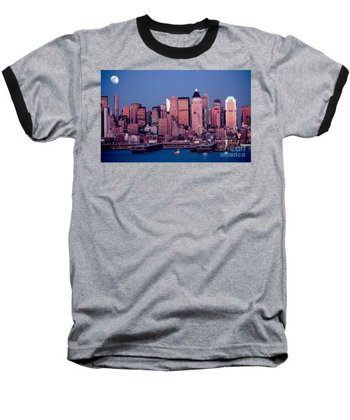 New York Skyline At Dusk Baseball T-Shirt