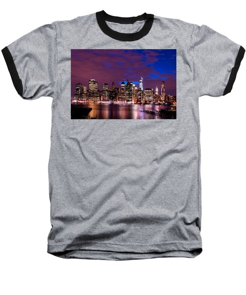 New York Skyline Magic Hour-- From Brooklyn Heights Promenade Baseball T-Shirt