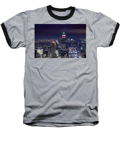 New York Skyline Night Color Baseball T-Shirt