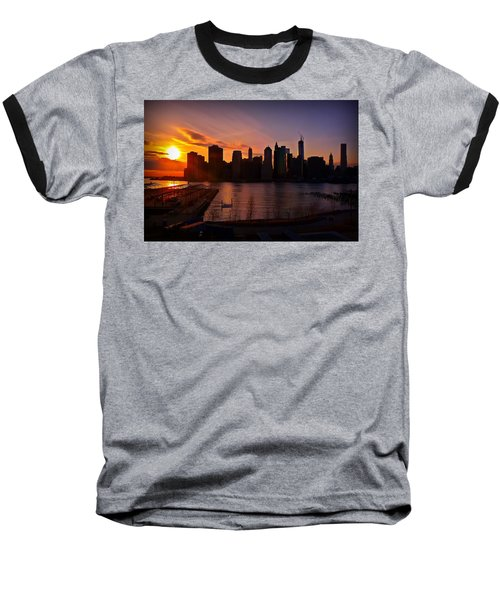 New York Skyline Sunset -- From Brooklyn Heights Promenade Baseball T-Shirt