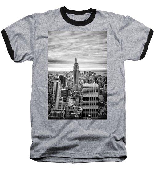 Black And White Photo Of New York Skyline Baseball T-Shirt