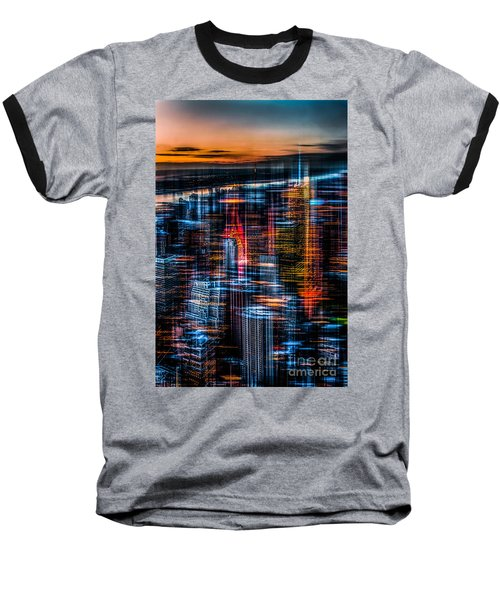 New York- The Night Awakes - Orange Baseball T-Shirt