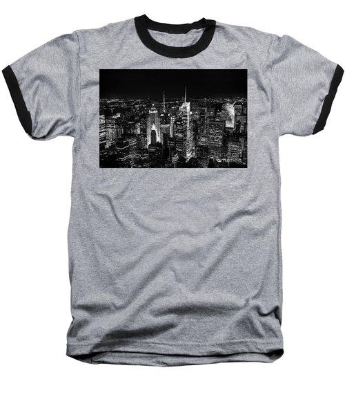New York Times Square Bw Baseball T-Shirt by Matt Malloy