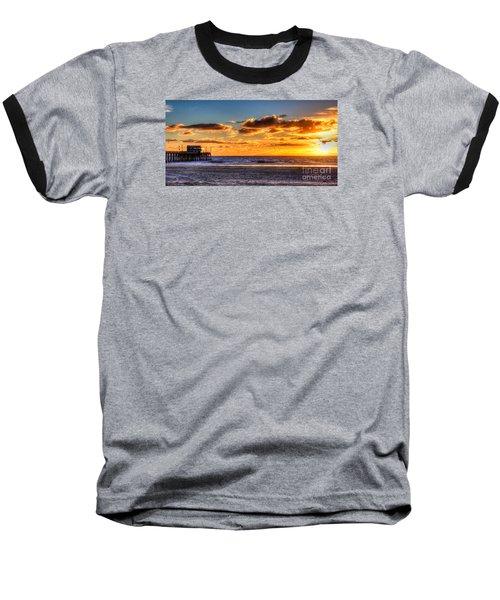 Newport Beach Pier - Sunset Baseball T-Shirt by Jim Carrell
