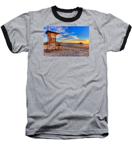 Newport Beach Pier - Wintertime  Baseball T-Shirt by Jim Carrell