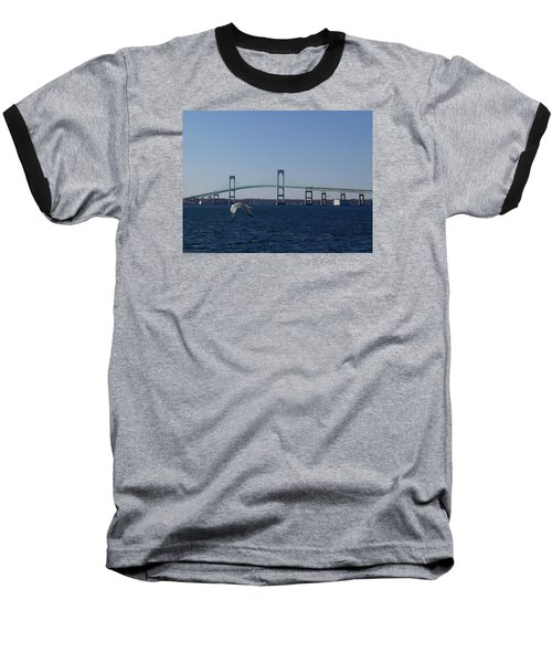 Newport Bridge Baseball T-Shirt by Robert Nickologianis