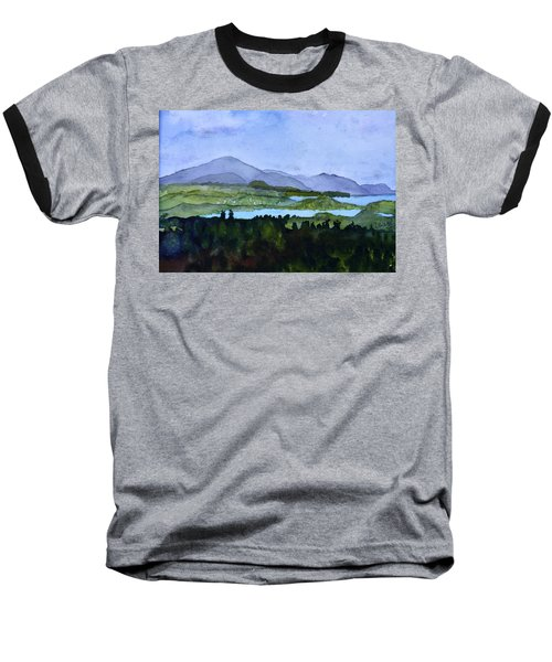 Baseball T-Shirt featuring the painting Newport From Brownington Lookout by Donna Walsh