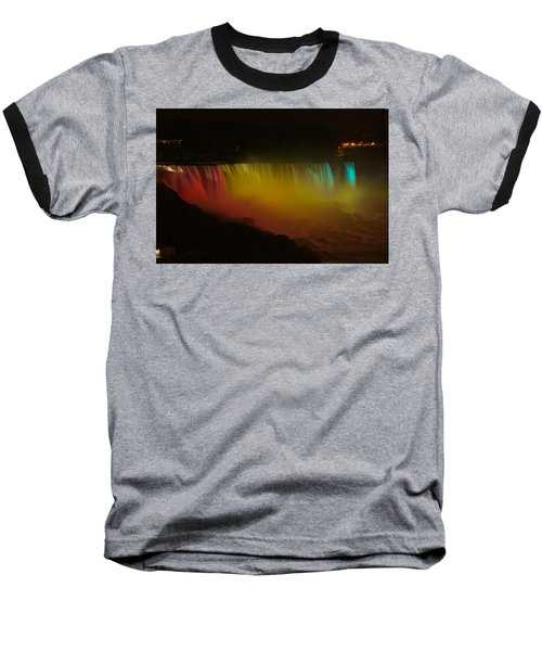Niagara Falls A Glow Baseball T-Shirt by Dave Files