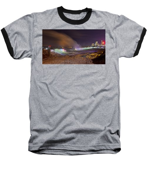 Niagara Falls Ice Bridge Baseball T-Shirt by Richard Engelbrecht